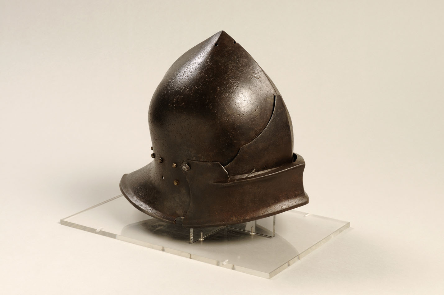 A sallet made during the Wars of the Roses c. 1460 by Martin Rondele of Bruges and kept at St Mary's Guildhall